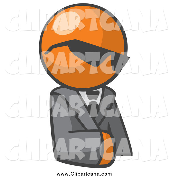 Clip Art of an Orange Businessman Avatar with Shades
