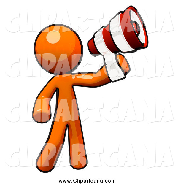 Clip Art of an Orange Man Announcing with a Striped Megaphone
