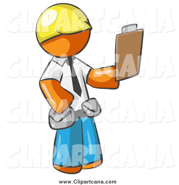 Clip Art of an Orange Man Construction Foreman Holding a Clipboard