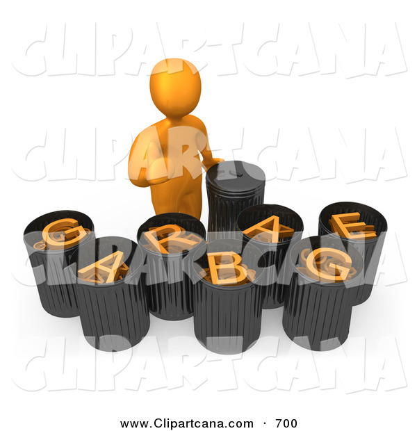 Clip Art of an Orange Man Giving the Thumbs up While Standing by Garbage Bins with Orange Text Reading Garbage