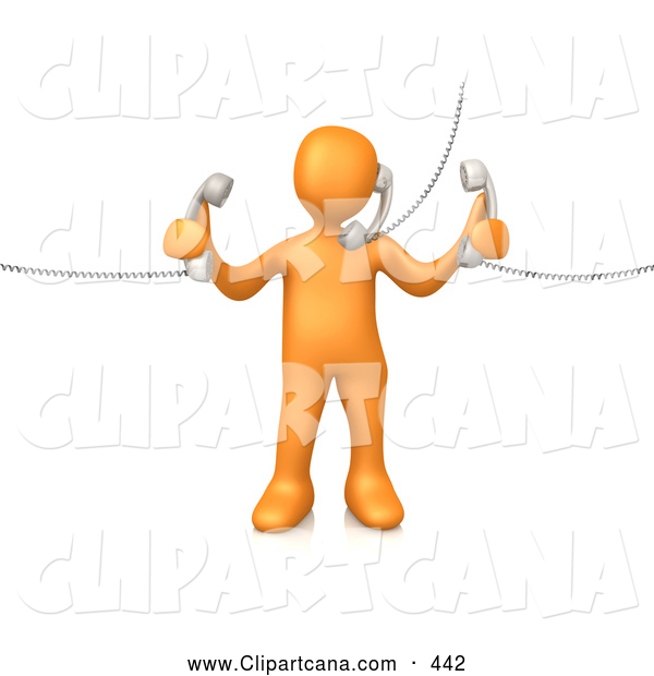Clip Art of an Orange Man Handling Three Customer Service Lines and Multi Tasking at the Office