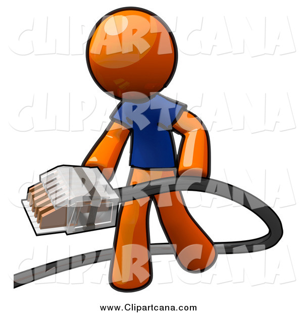 Clip Art of an Orange Man Holding a Cable