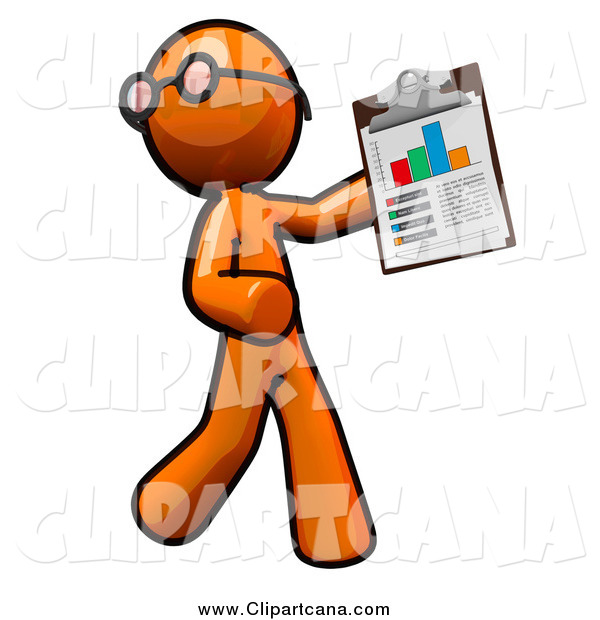 Clip Art of an Orange Man Holding a Chart