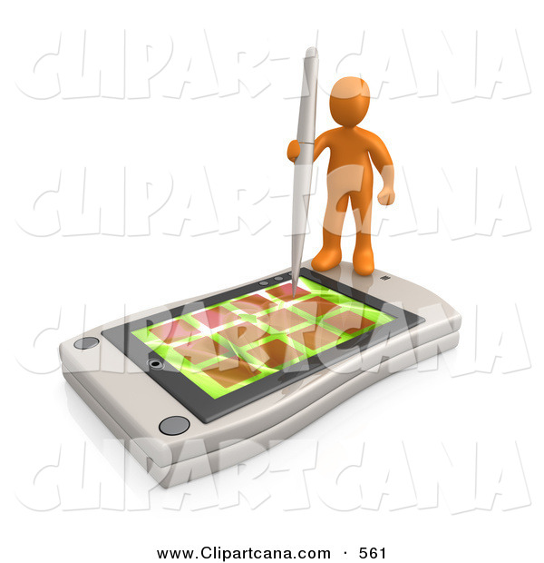 Clip Art of an Orange Man Holding a Pen and Scheduling an Appointment on His White Palm Pilot While Standing on It