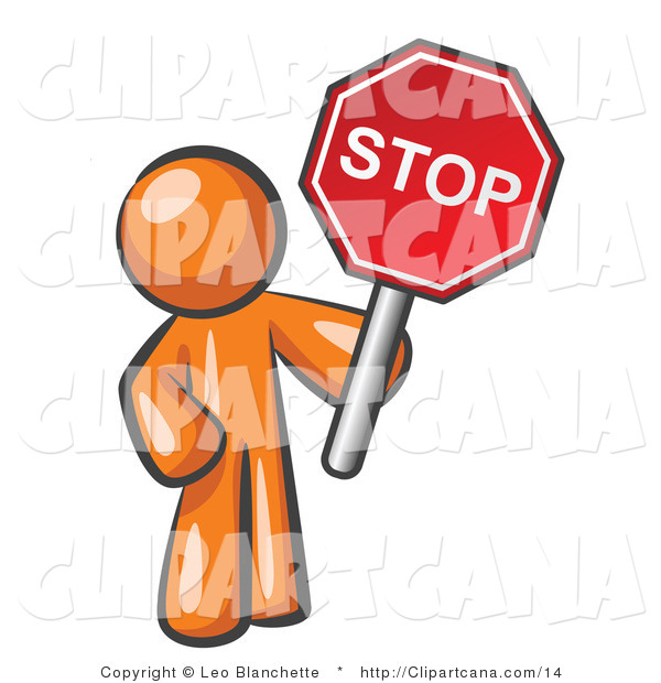 Clip Art of an Orange Man Holding a Stop Sign
