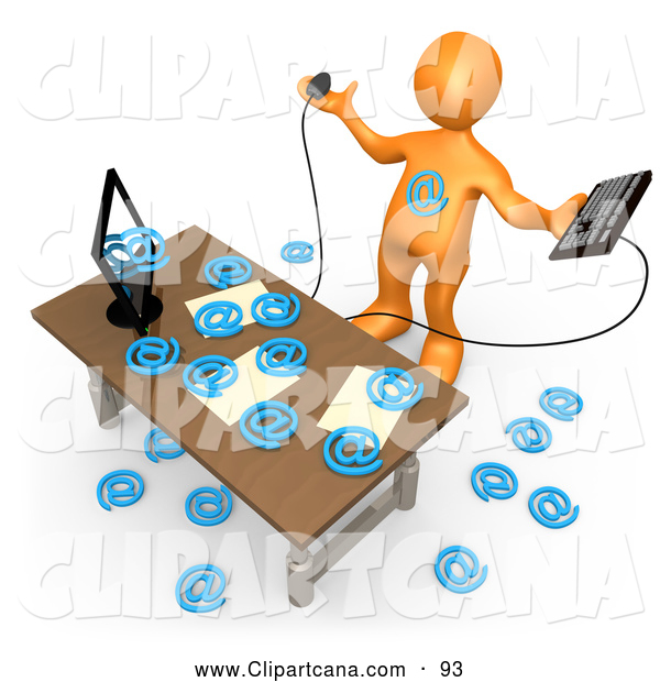 Clip Art of an Orange Man Overwhelmed at His Computer in an Office, Symbolizing Computer Viruses or Email Spamming