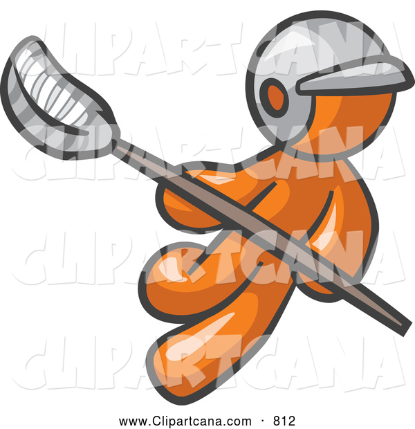 Clip Art of an Orange Man Playing Lacrosse