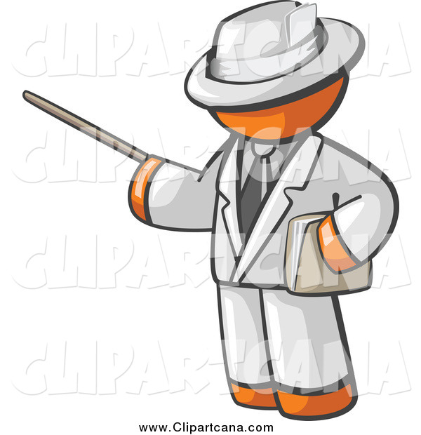 Clip Art of an Orange Man Teacher Using a Pointer Stick