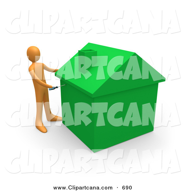 Clip Art of an Orange Man Using a Screwdriver to Finish off a Green Energy Efficient Home After Doing Eco Friendly Upgrades, Repairs, or New Construction