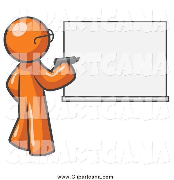 Clip Art of an Orange Man Writing on an Office White Board