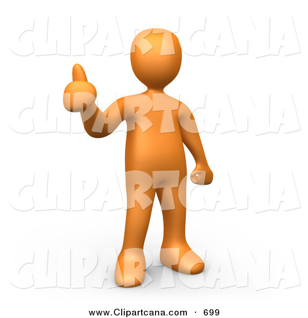 Clip Art of an Orange Person Giving the Thumbs up on White