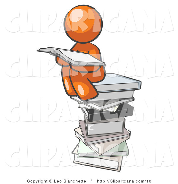Clip Art of an Orange Person Reading
