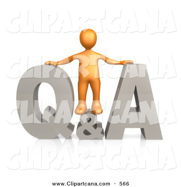 Clip Art of an Orange Person Standing in the Center of a Questions and Answers Icon on White