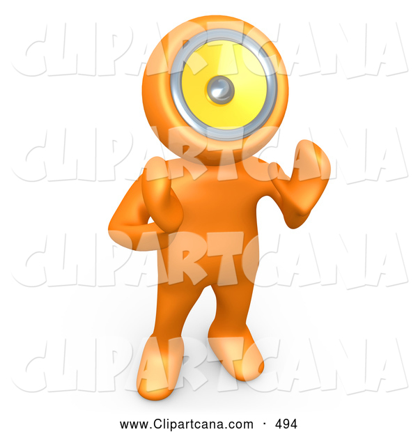 Clip Art of an Orange Person with a Loud Speaker Head, Hollering or Playing Music, on White