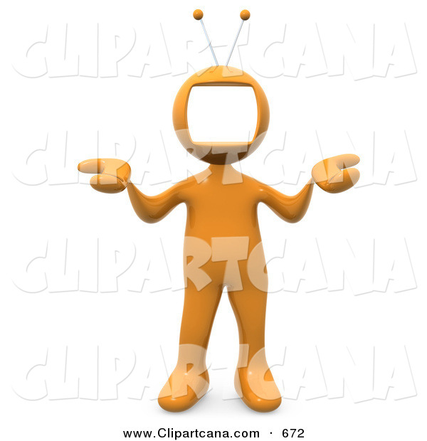 Clip Art of an Orange Person with a Television Monitor As a Head, Shrugging