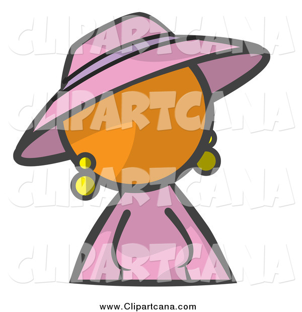 Clip Art of an Orange Woman in Pink