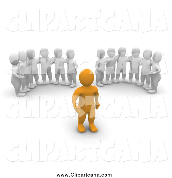 Clip Art of Groups of 3d Men Watching an Orange Man