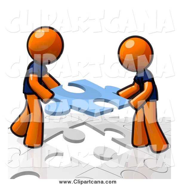 Clip Art of Orange Men Working Together and Assembling a Puzzle