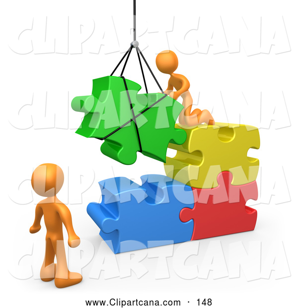 Vector Clip Art of 3d Orange Men Directing a Hoisted Puzzle Piece into a Space
