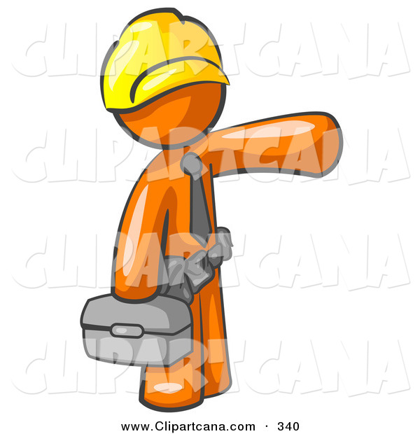 Vector Clip Art of a Busy Orange Man, a Construction Worker, Handyman or Electrician, Wearing a Yellow Hardhat and Tool Belt and Carrying a Metal Toolbox While Pointing to the Right