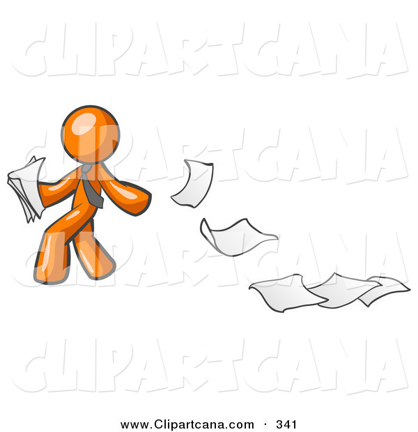 Vector Clip Art of a Carefree Orange Man Dropping White Sheets of Paper on a Ground and Leaving a Paper Trail, Symbolizing Waste