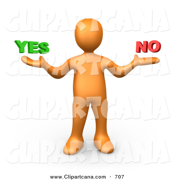 Vector Clip Art of a Careful Uncertain Orange Person Shrugging and Weiging out the Options of Yes or No