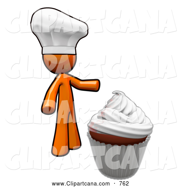 Vector Clip Art of a Chef Orange Man and a Cupcake