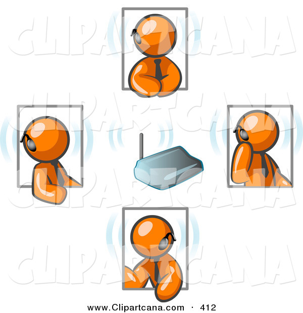 Vector Clip Art of a Group of Four Orange Businessmen Holding a Phone Conference and Wearing Wireless Bluetooth Communication Headsets