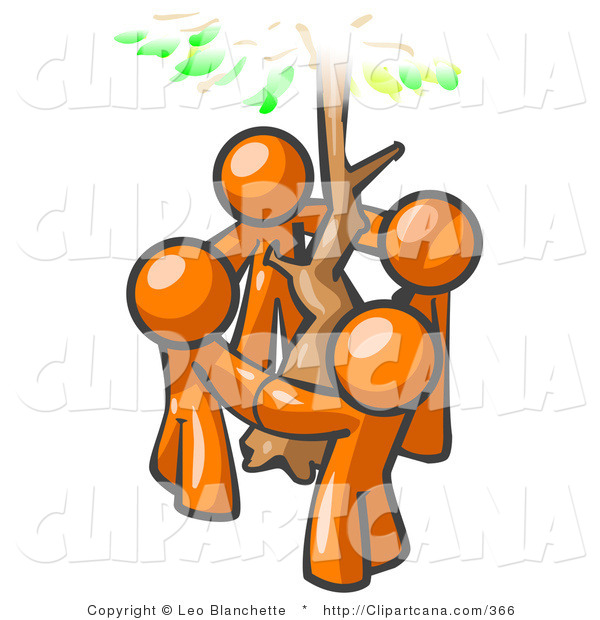 Vector Clip Art of a Group of Happy Orange Men Standing in a Circle Around a Tree