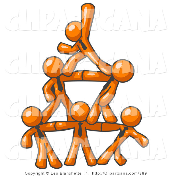 Vector Clip Art of a Group of Six Orange Businessmen Piling up to Form a Pyramid