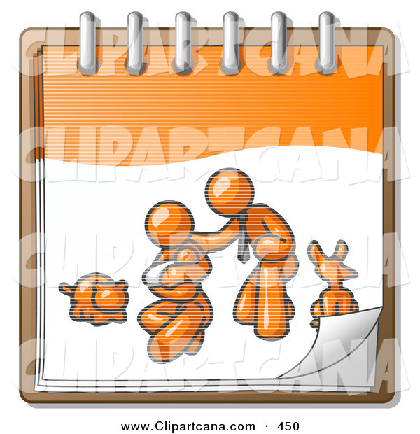 Vector Clip Art of a Orange Family Showing a Man Kneeling Beside His Wife and Newborn Baby with Their Dog and Cat on a Calendar Page, Symbolizing Family Planning