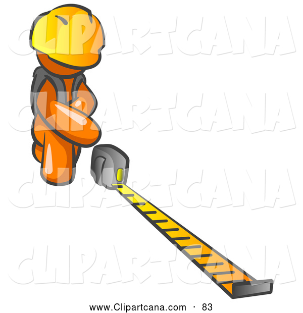 Vector Clip Art of a Orange Man Contractor Wearing a Hardhat, Kneeling and Measuring with a Tape Measurer
