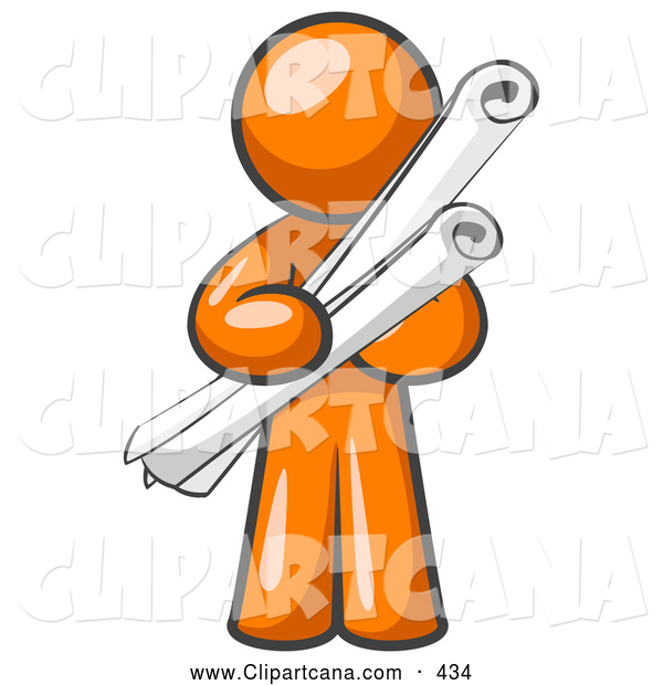 Vector Clip Art of a Orange Man Educated Architect Carrying Rolled Blue Prints and Plans