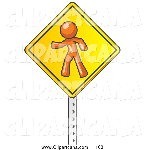 Vector Clip Art of a Orange Man Walking on a Yellow Traffic Sign Posted on a Silver Pole on White