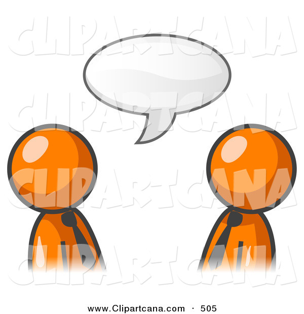 Vector Clip Art of a Pair of Orange Businessmen Having a Conversation with a Text Bubble