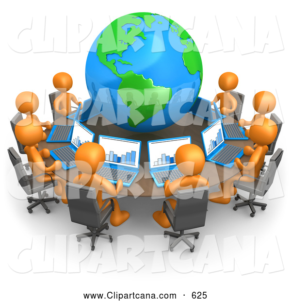 Vector Clip Art of a Professional Group of Orange People Working on Laptops at a Round Table with a Globe in the Center