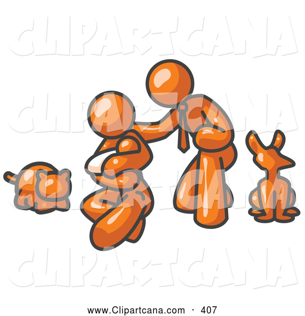 Vector Clip Art of a Proud Orange Family, Father, Mother and Newborn Baby with Their Dog and Cat