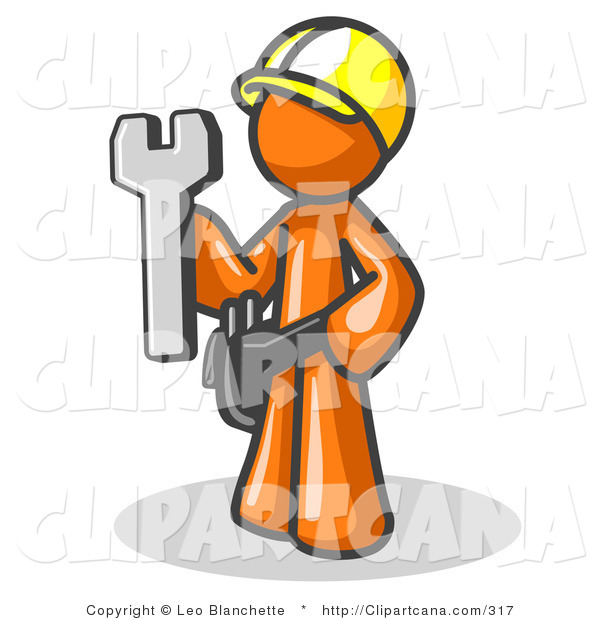 Vector Clip Art of a Proud Orange Male Construction Worker in a Hardhat, Holding a Wrench