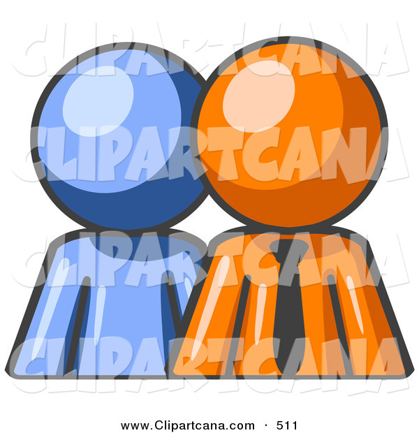 Vector Clip Art of a Shiny Blue Person Standing Beside an Orange Businessman, Symbolizing Teamwork or Mentoring