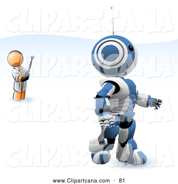 Vector Clip Art of a Shiny Orange Man Inventor Operating an Blue Robot with a Remote Control