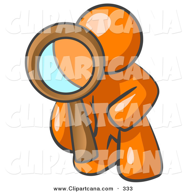Vector Clip Art of a Shiny Orange Man Kneeling on One Knee to Look Closer at Something While Inspecting or Investigating