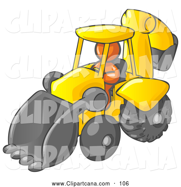 Vector Clip Art of a Shiny Orange Man Operating a Yellow Backhoe Machine at a Construction Site