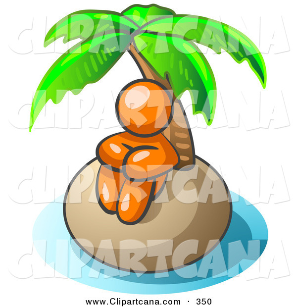 Vector Clip Art of a Shiny Orange Man Sitting All Alone with a Palm Tree on a Deserted Island