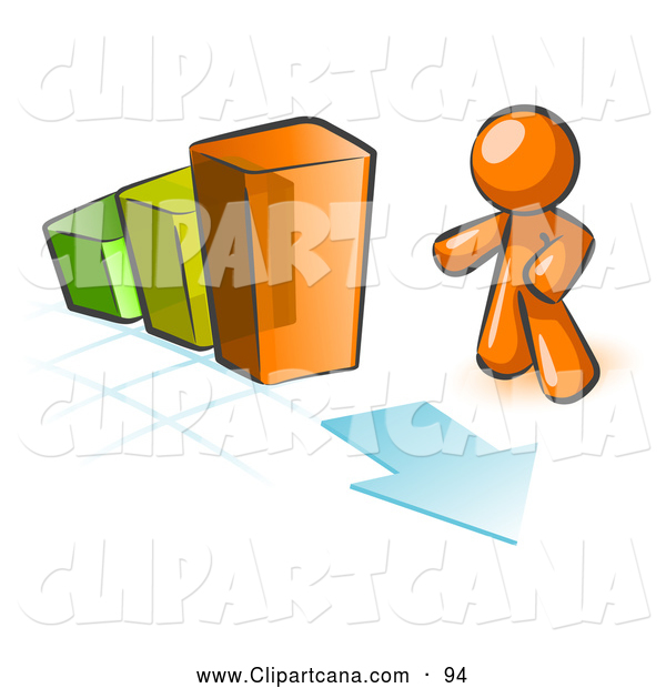 Vector Clip Art of a Shiny Orange Man Standing by an Increasing Green, Yellow and Orange Bar Graph on a Grid Background with an Arrow