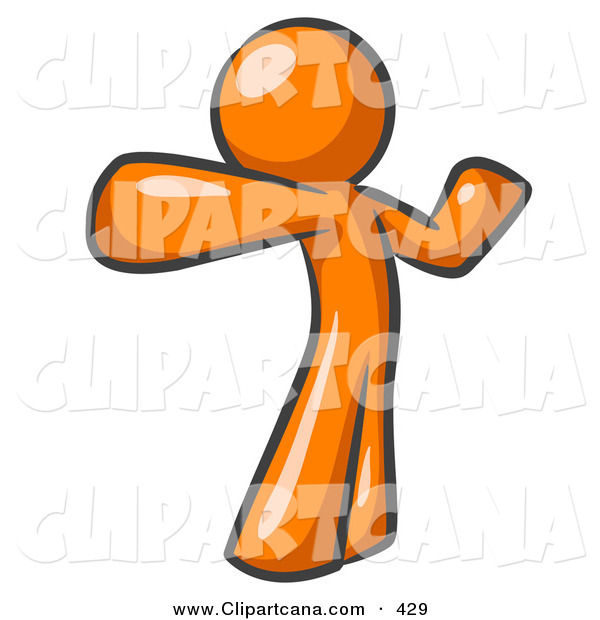 Vector Clip Art of a Shiny Orange Man Stretching His Arms and Back or Punching the Air