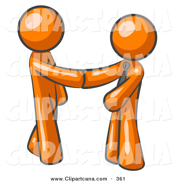 Vector Clip Art of a Shiny Orange Man Wearing a Tie, Shaking Hands with Another upon Agreement of a Business Deal