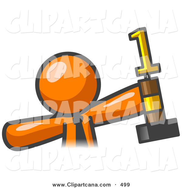 Vector Clip Art of a Shiny Proud Orange Business Man Holding up a First Place Trophy