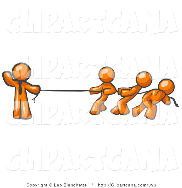 Vector Clip Art of a Strong Orange Businessman Holding One End of Rope While Three Others Pull on the Other Side During Tug of War