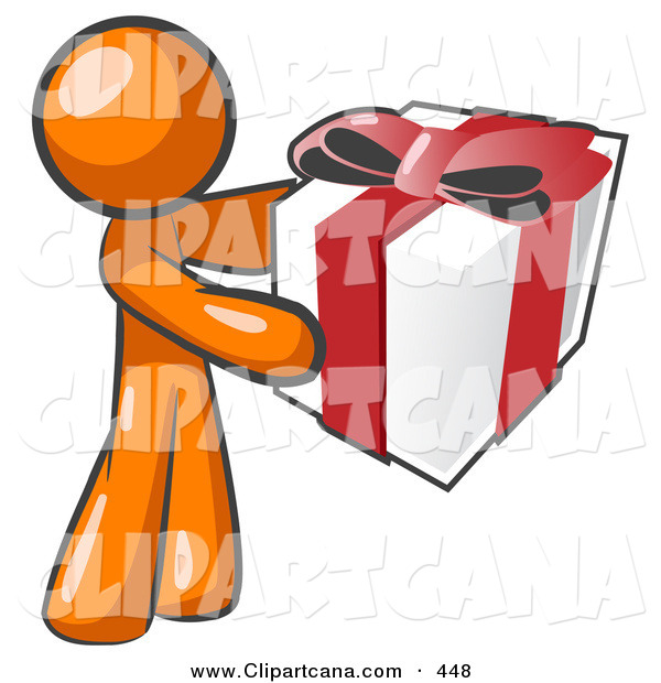 Vector Clip Art of a Thoughtful Orange Man Holding a Christmas, Birthday, Valentines Day or Anniversary Gift Present Wrapped in White Paper with Red Ribbon and a Bow