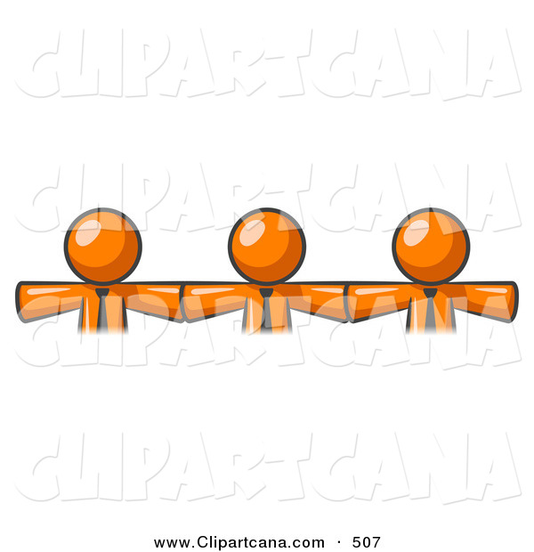 Vector Clip Art of a Trio of Orange Businessmen Wearing Ties, Standing Arm to Arm, Symbolizing Team Work, Support, Interlinking, Interventions, Etc